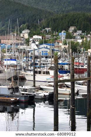 Quiet harbor in Ketchikan, Alaska.