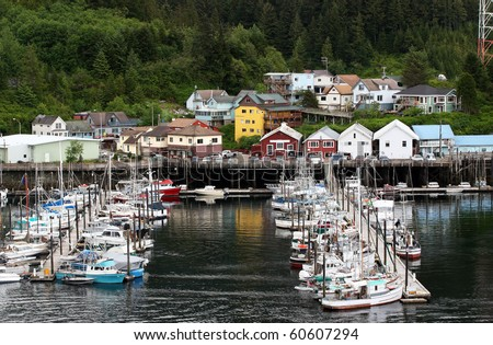 Quiet moorage in Ketchikan Alaska - stock photo