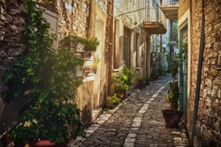 Quiet narrow street in an old village of Pano Lefkara. Larnaca District, Cyprus