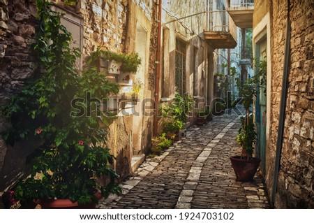 Quiet narrow street in an old village of Pano Lefkara. Larnaca District, Cyprus Stock photo ©