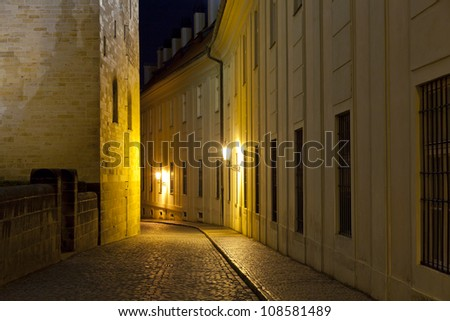 Quiet night in an old street in Prague