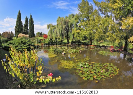 Quiet picturesque pond surrounded by a bright colored shrubs and trees.  Gorgeous European park