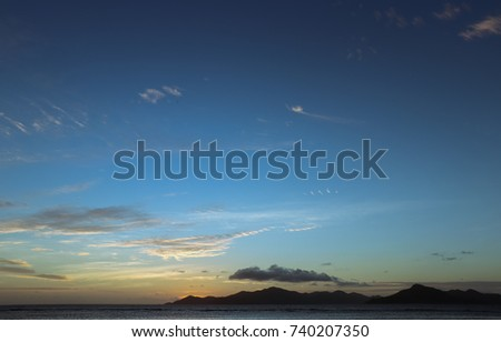 Quiet romantic sunset on the island of La Digue. Seychelles. Africa #740207350