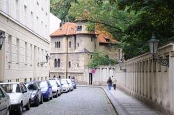 Quiet Street in Jewish Quarter of Prague Old Town