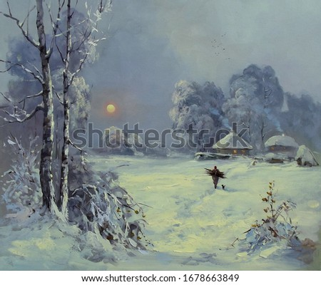 quiet winter morning,winter landscape, evening,handmade painting, fine art, village, tree, nature, snow, oil painting