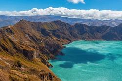 Quilotoa crater lagoon landscape near Quito, Ecuador.