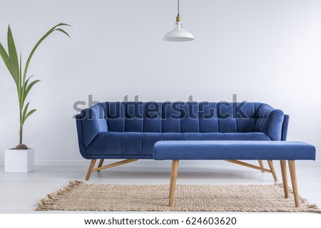 Quilted blue sofa and bench in trendy modest room with white walls #624603620