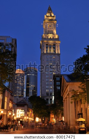 Quincy Market and Custom House Tower at night. Boston, Massachusetts