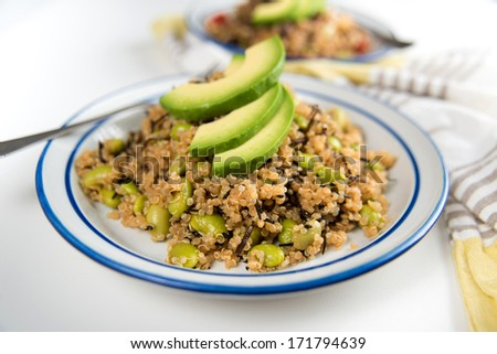 Quinoa Based Salad Topped with Slices of Avocado