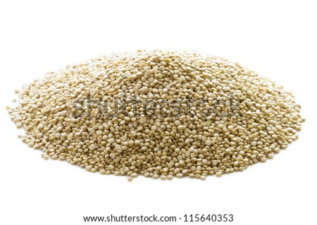 quinoa grains in a heap isolated on a white background