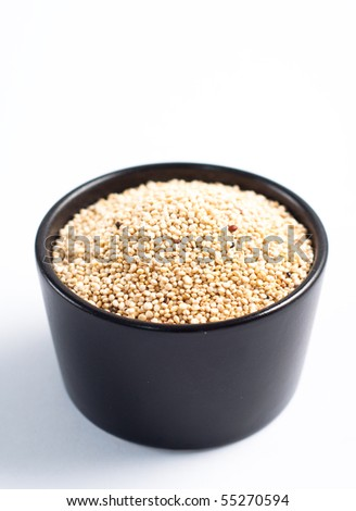 Quinoa in Black Bowl
