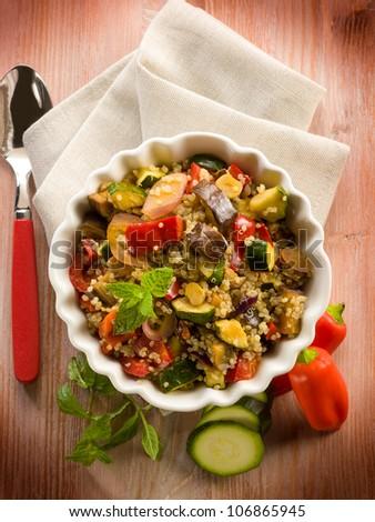 quinoa salad with vegetables, vegetarian food