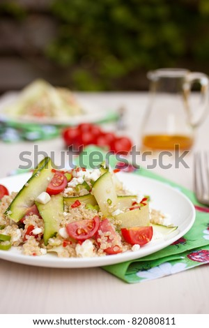 Quinoa, tomatoes, feta and courgette make up a delicious salad