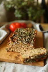 Quinoa vegetarian pate with green pumpkin seeds