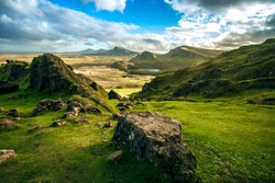 Quiraing Pass Skye Island Scotland landmark autumn colors landscape sunset beautiful scenery view