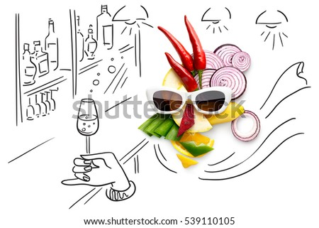 Quirky food concept of cubist style female face in sunglasses in a bar made of fruits and vegetables, isolated on sketchy background.  #539110105
