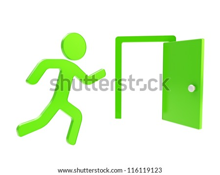 Quit, emergency exit green icon glossy dimensional emblem isolated on white background