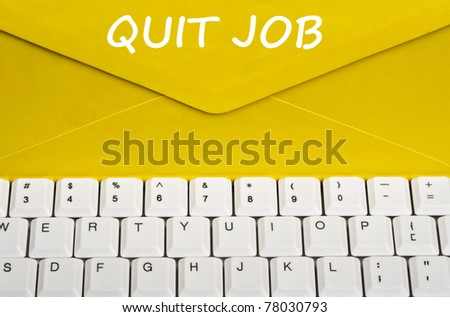 Quit job message on envelope