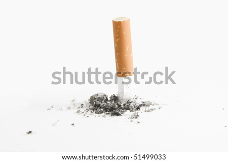 Quit smoking - cigarette butt, smoking concept, over white