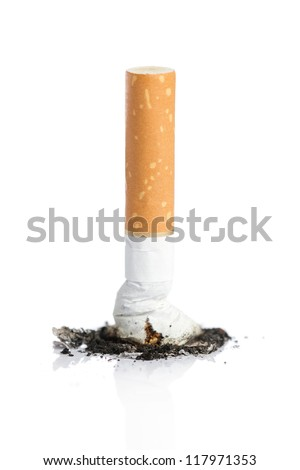 Quit smoking concept, cigarette butt with ash isolated on white background