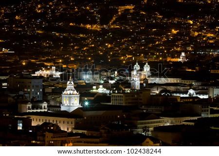Quito at night, Ecuador.