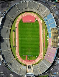 Quito, Ecuador, 6-12-2020: Aerial view of football stadium in Quito