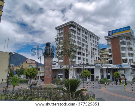 Quito, Ecuador - December 25, 2010: Modern buildings, people, cars on the streets of the capital city of Quito, Ecuador, South America. #377525851