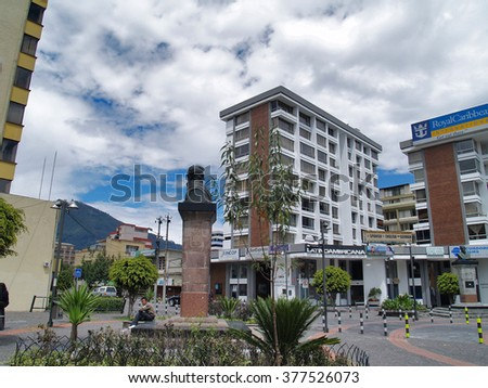 Quito, Ecuador - December 25, 2010: Modern buildings, people, cars on the streets of the capital city of Quito, Ecuador, South America. #377526073