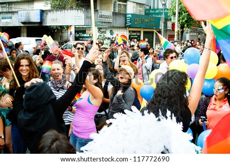QUITO, ECUADOR JULY 03: Unidentified people participate Gay Pride parade, one of the famous gay parade in the americas. 2011, JULY 03, QUITO, ECUADOR