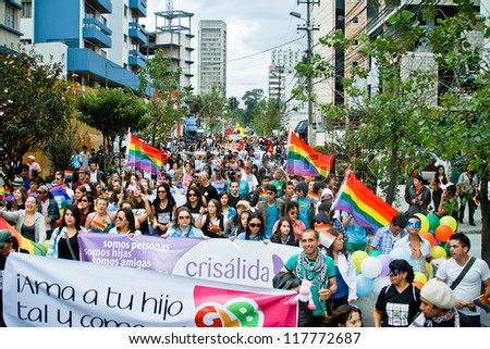 QUITO, ECUADOR JULY 03: Unidentified people participate in Gay Pride parade, one of the famous gay parade in the americas. 2011, JULY 03, QUITO, ECUADOR