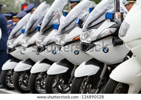 QUITO, ECUADOR- MAY 24 : National military parade, Ecuador's President Rafael Correa personal security motorcycles. May 24, 2012, Quito, Ecuador