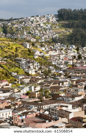 Quito neighborhood , south part of the city. Traditional houses over the city hills.