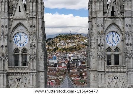 Quito - the capital of Ecuador. Quito is a beautifllly set city, packed with historical monuments and architectural treasures. The picture present view on the colonial old town in Quito (UNESCO)