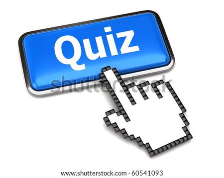 Quiz button and hand cursor - stock photo