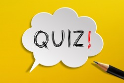 Quiz time concept, speech bubble with pencil on yellow background