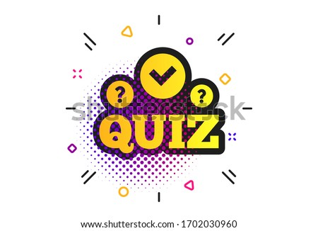 Quiz with check and question marks sign icon. Halftone dots pattern. Questions and answers game symbol. Classic flat quiz icon.