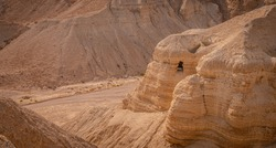 Qumran Caves where Dead Sea across were discovered.