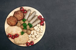 Quorn tofu health food plant based meat substitute for vegans with cutlets, falafel balls, burgers, sausages & spiced soy bean chunks. High in antioxidants & omega 3. Ethical eating concept. Flat lay.