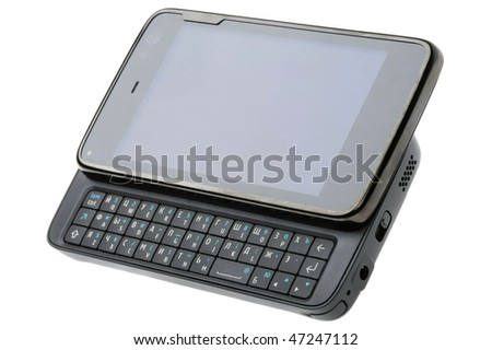 QWERTY-smartphone with camera isolated on white