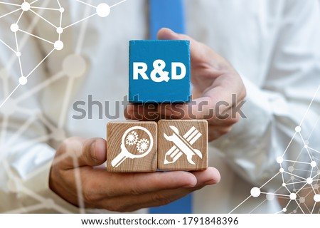 R&D: Research and Development Business Science Technology Concept. R D innovation conceptual background typography design. Foto stock ©