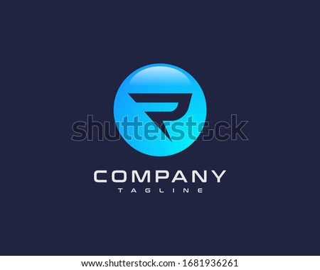 R Initial Letter Logo Sea Blue Color, Button Style Initial R Photo stock ©