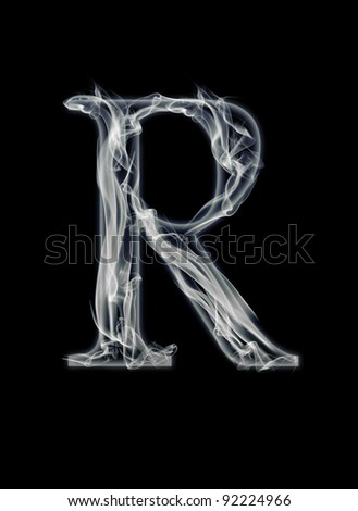 R Letter of smoke alphabet