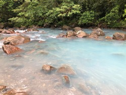 Río Celeste or Sky-blue river and natural tourist attraction in Costa Rica.