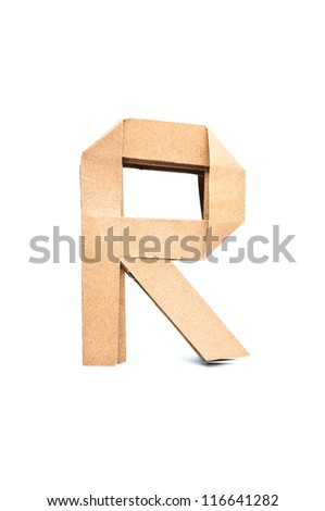 R-Origami alphabet letters recycled paper craft fold. - stock photo