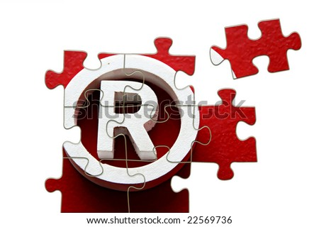 R Registered trademark - puzzle incomplete - illustration