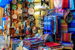 Rabat, Morocco, 22.04.2012. East market, bazaar, with souvenir shops. View of the wind