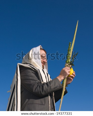 rabbi wearing tallit holds lulav against deep blue sky
