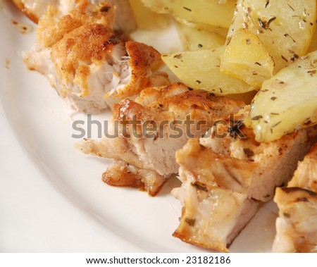 rabbit fillet with potato on a plate