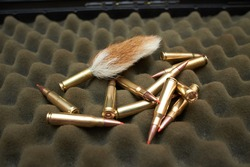 Rabbit tail and bullets on the dark background.