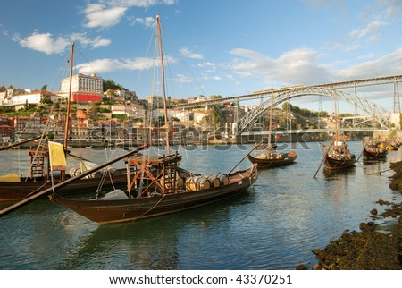 rabelo boats near Dom Luis Bridge (Porto - Portugal)